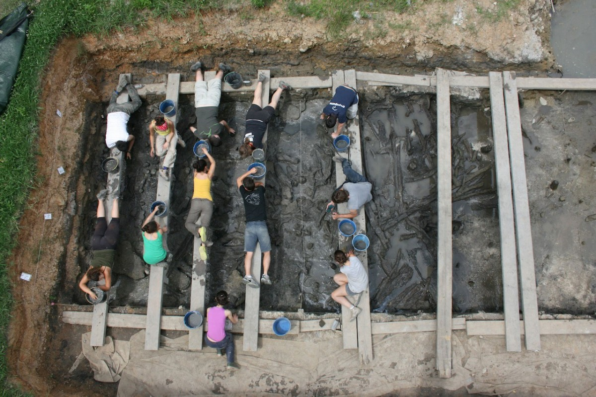 View of the excavation process at the Neolithic site of La Draga.