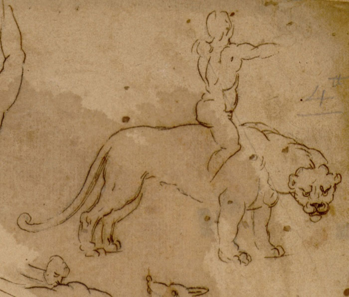 Detail of the sheet at the Musée Fabre, depicting a rider on a panther.