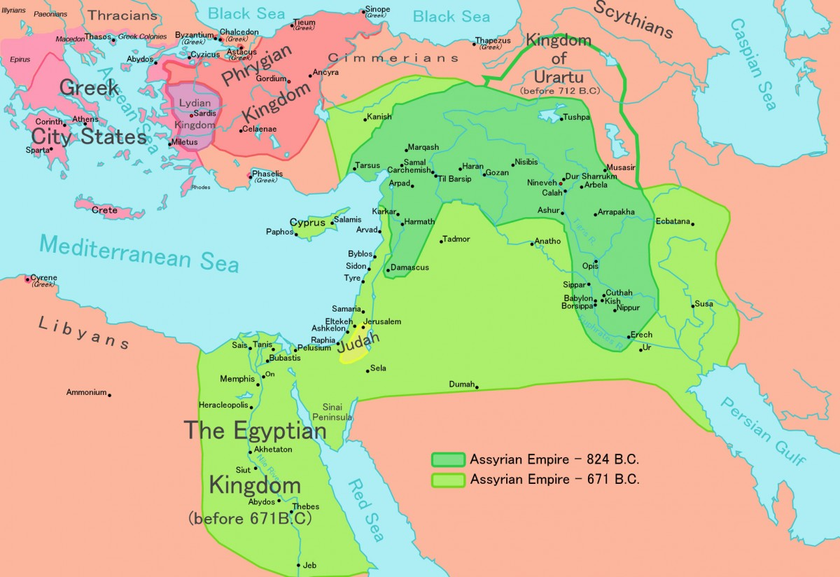 A map of the Assyrian civilisation. Photo Credit: Wikipedia.