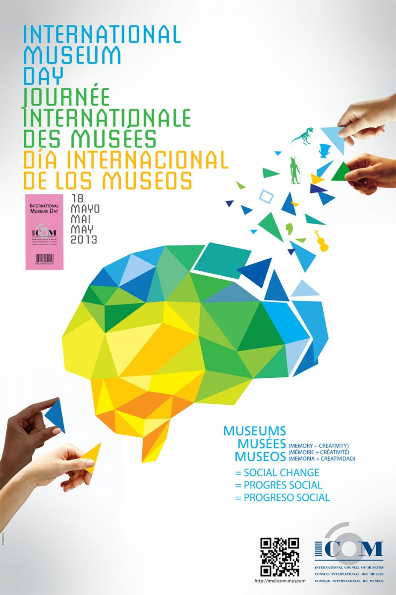 """Fig. 3. """"Memory + Creativity= Social Change"""". The eloquent message from the celebration of the International Day of Museums 2013 about the contemporary role and challenges of museums (Source, International Council of Museums, Archive of International Day of Museums, http://icom. museum)."""