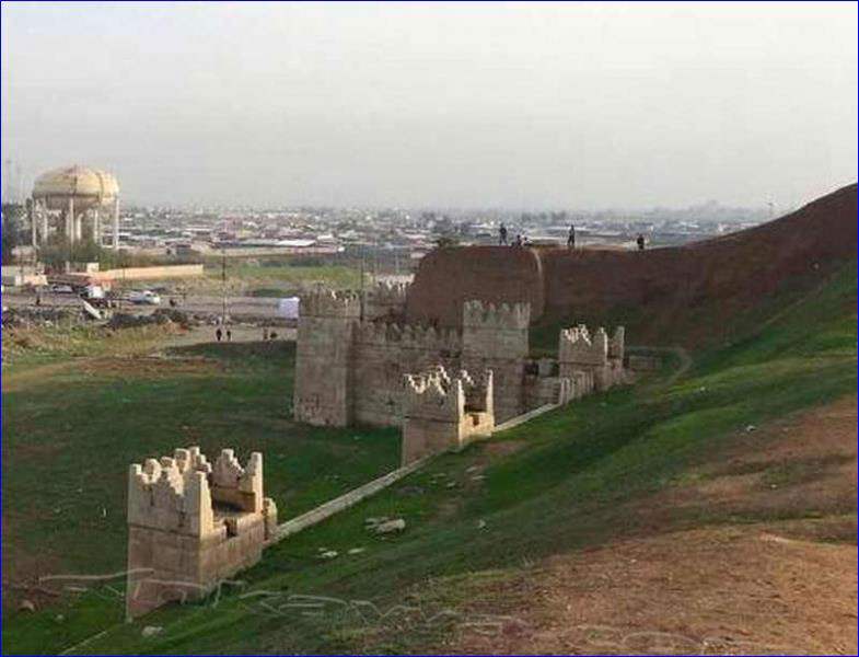 The remains of the Nineveh wall in northern Iraq. Photo Credit: AINA.