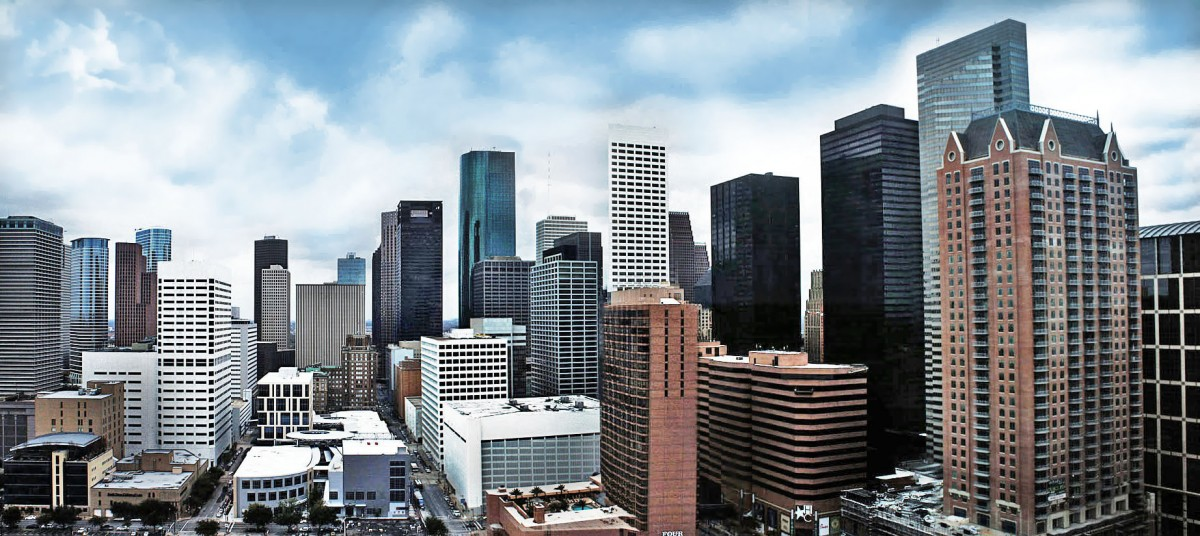 The eastern view of Downtown Houston skyline.