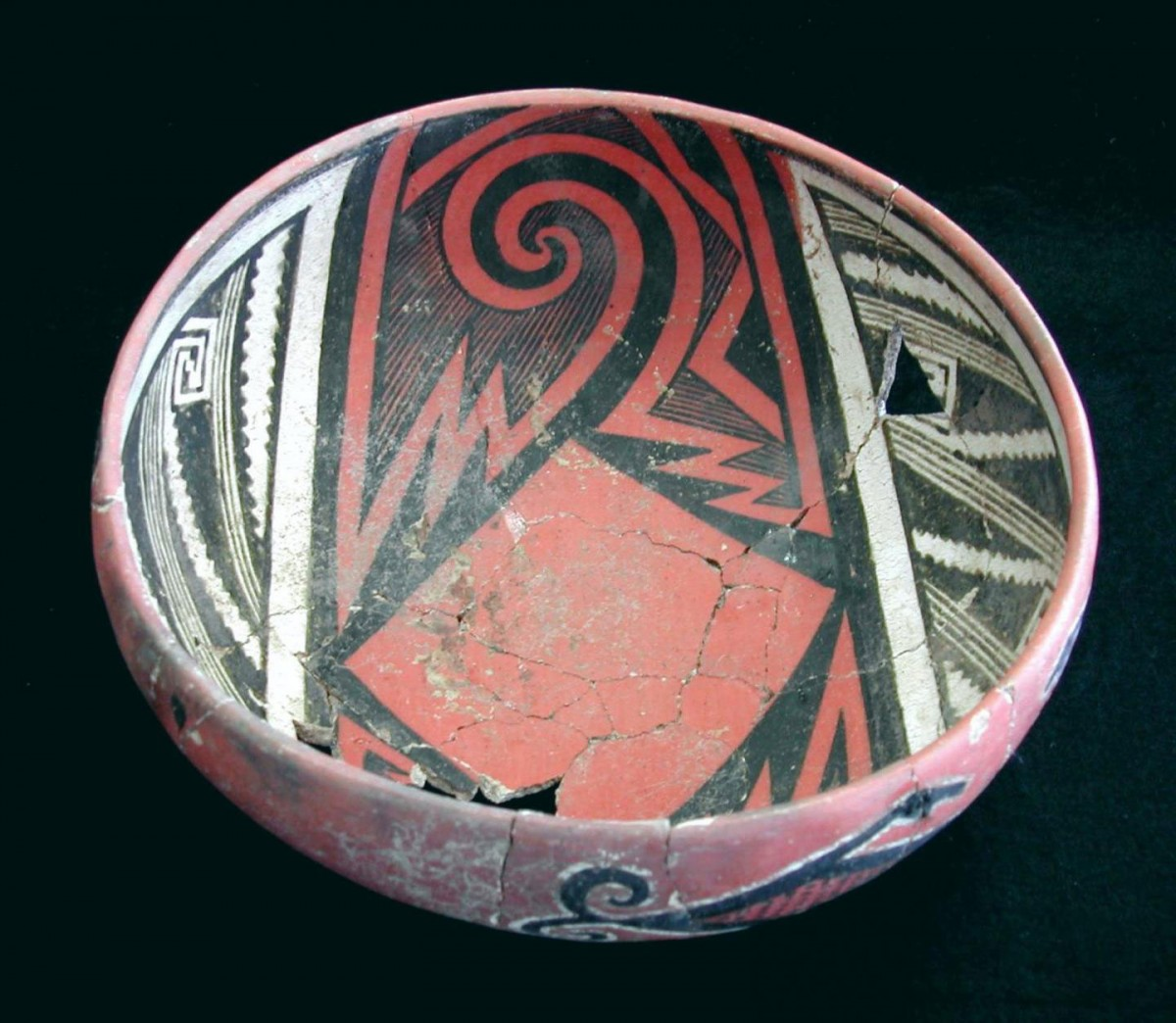 This is a Pinedale Polychrome bowl from the Bailey Ruin, AD 1275-1325. This type of vessel was made during the megadrought that hit the Southwest from A.D. 1276-1299. The distribution of this type outside of its area of production was one of the ways that people kept connected during and after the drought. Credit: Barbara Mills/University of Arizona.