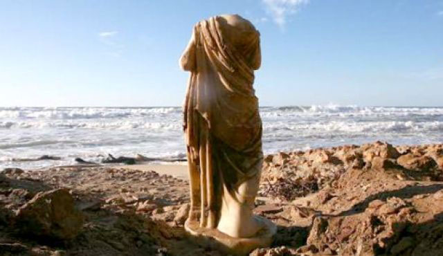 The Ashkelon statue found in 2010 after a hill collapsed. Photo Credit: Amir Cohen/Reuters.