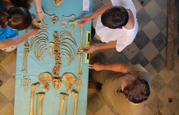 Undergraduate students examine the skeleton of a young male excavated from the Badia Pozzeveri cemetery.