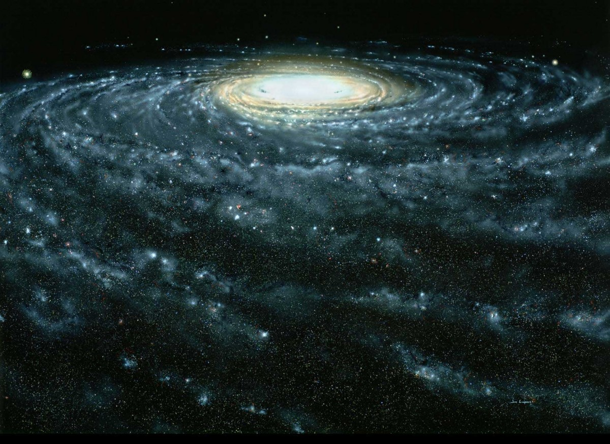 An artist's conception of the Milky Way galaxy. New results have measured the Sun's motion around the galaxy, and the amount of unseen dark matter in the galaxy's halo. John Lomberg. Source: https://www.cfa.harvard.edu/news/su201245