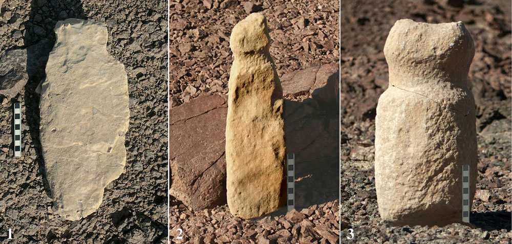 Some of the phallic structures discovered at the site in Negev Desert. Photo credit: Uzi Avner.