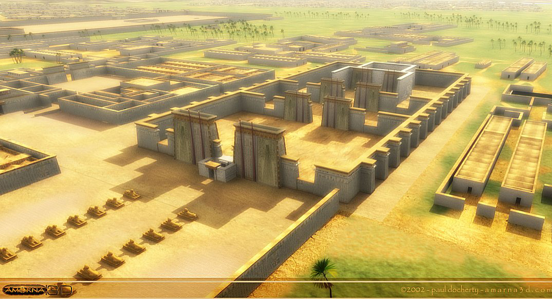 The Small Aten Temple. This view is roughly easterly in direction and shows the Small Aten Temple which was close to the Pharaoh's quarters on the left. Credits: Paul Docherty Principal Lecturer in 3D CG Teesside University.