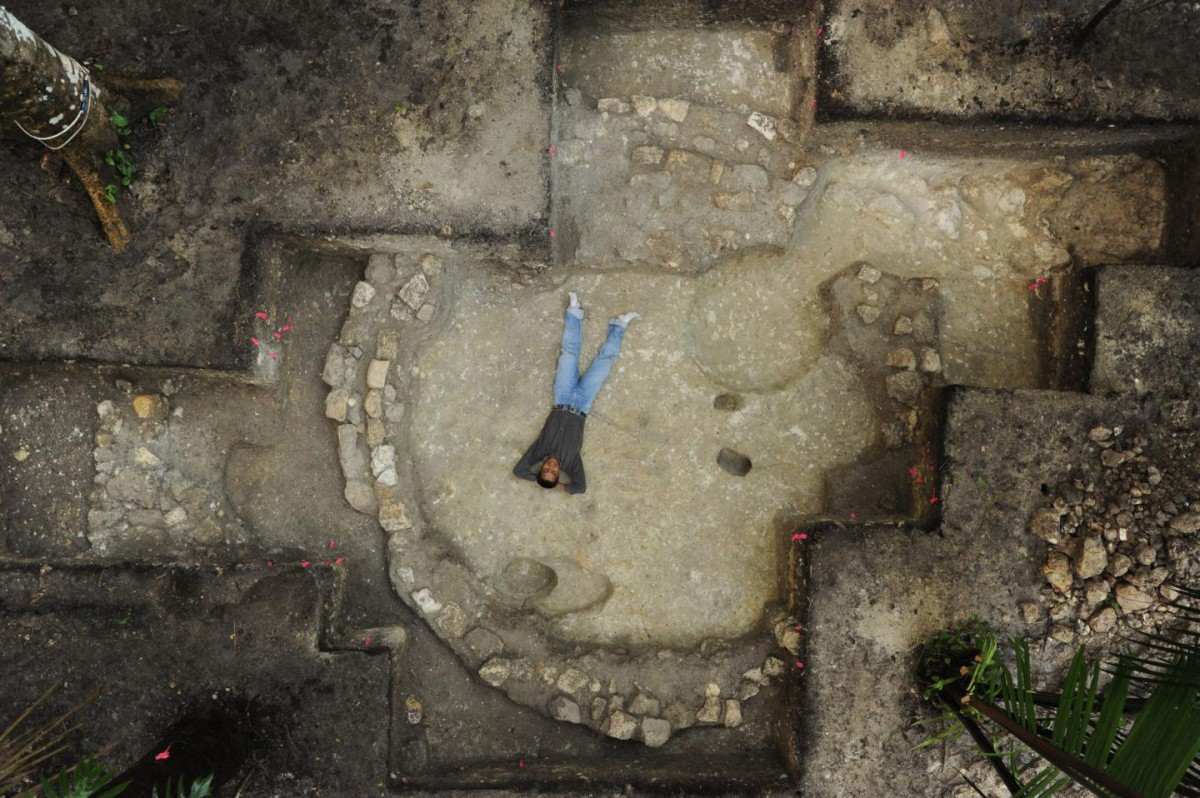 This is a round structure uncovered at Ceibal, from about 500 B.C. Credit: Takeshi Inomata/University of Arizona.
