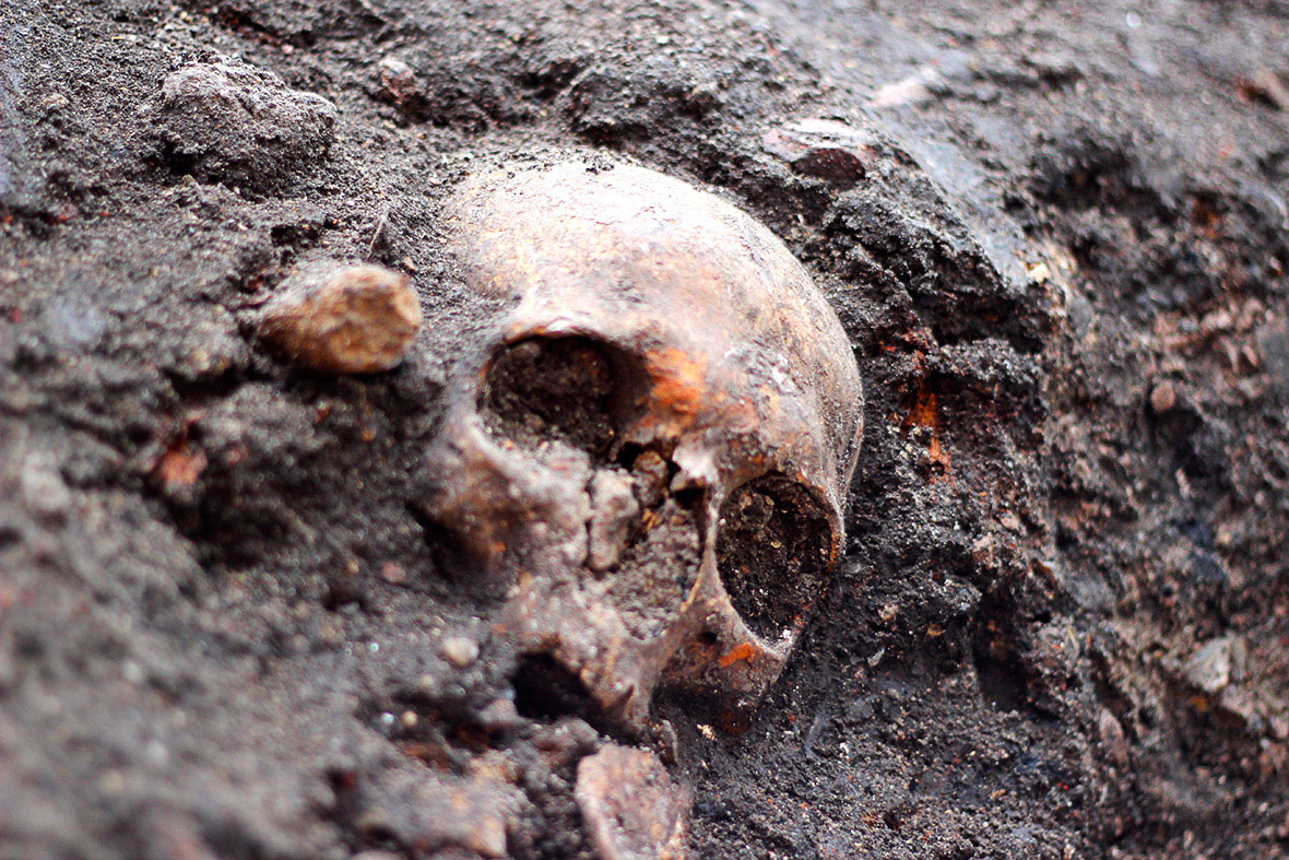 A skull half protruding from the earth at Bedlam site. Photo Credit: Tom Lawson/IB Times.