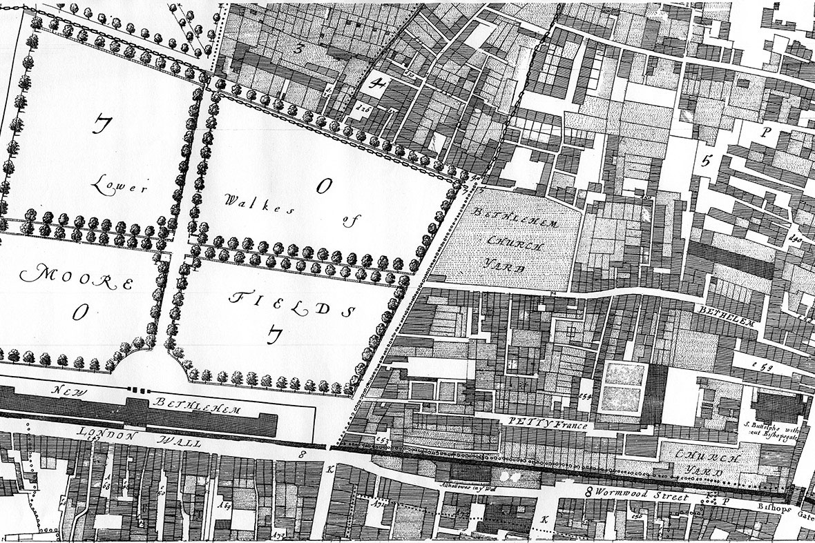 The Bedlam burial ground got its name from the nearby Bethlehem hospital that cared for the mentally ill. Image Credit: Ogilby and Morgan.