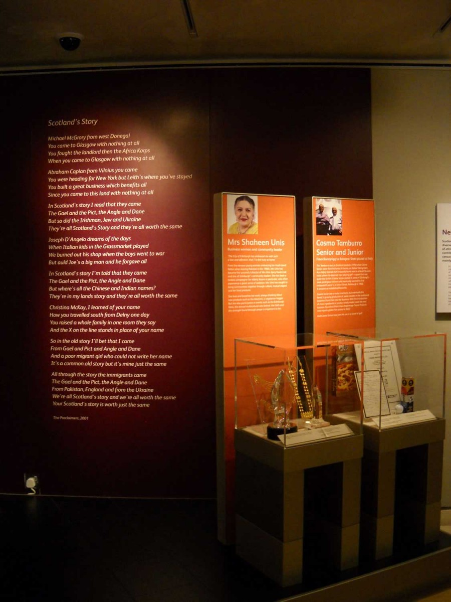 Fig. 6: National Museum of Scotland: the section on the history of immigration, Edinburgh. Photo: A. Bounia.