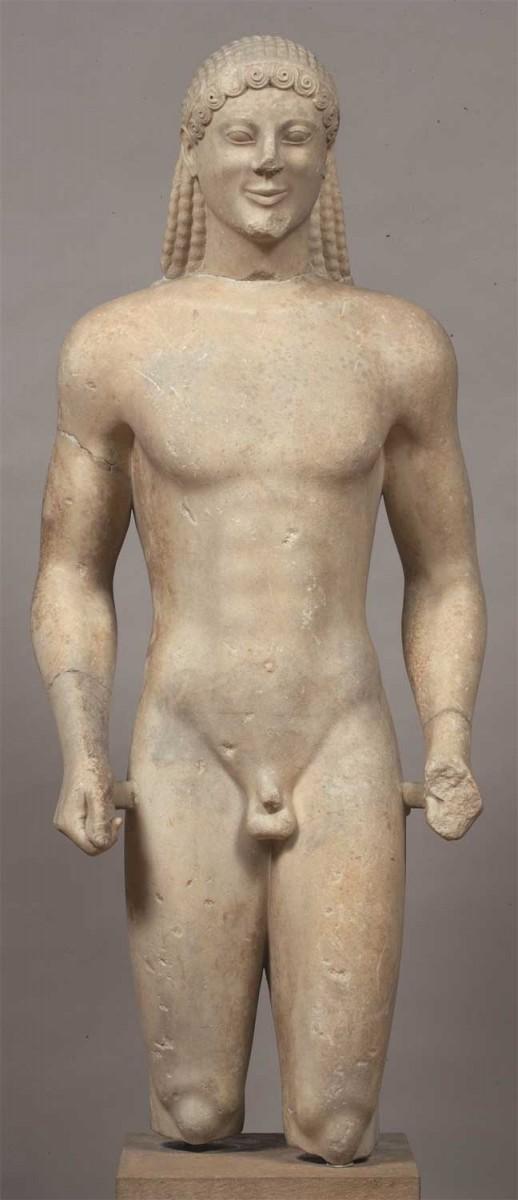 Votive Kouros found at the Sanctuary of Apollon on Mount Ptoios in Boeotia. 520 BC. National Archaeological Museum, Athens.