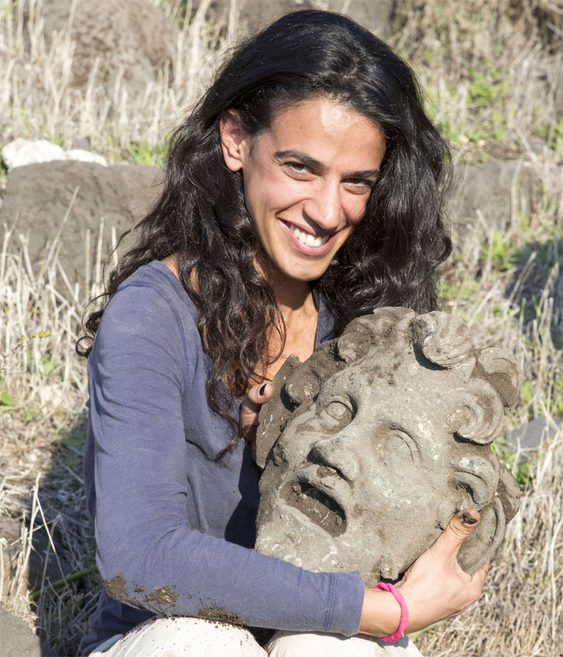 Bronze mask of the god Pan, uncovered at the University of Haifa's excavation at Hippos-Sussita. Image: University of Haifa.