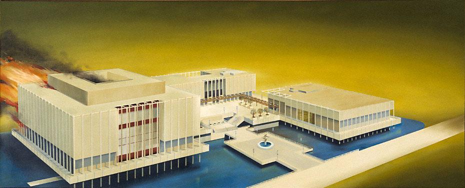 Fig. 5. Ed Ruscha, The Los Angeles County Museum on Fire, 1965-68. © Ed Ruscha.