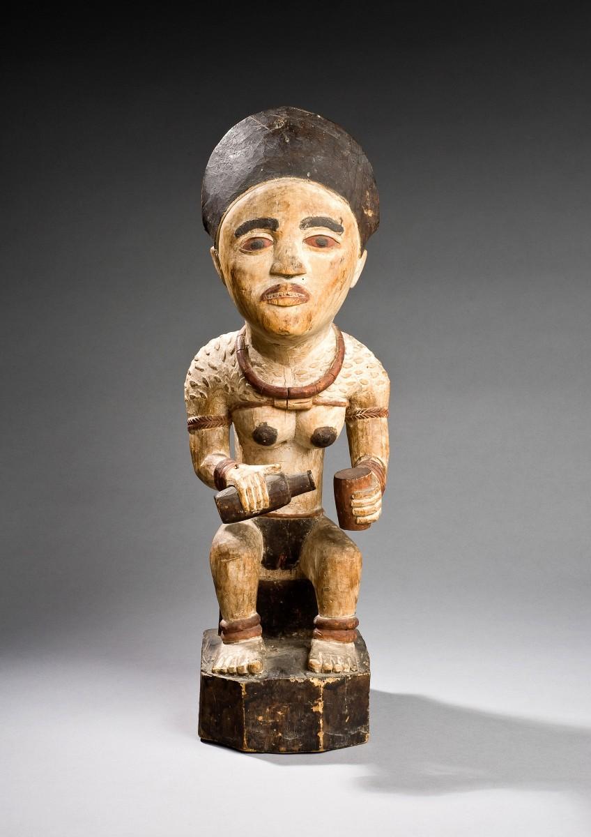 Yombe peoples, Mayombe, Lower Congo, DRC, Wooden grave figure, Early 20th century Collection RMCA Tervuren, EO.1960.32.1. Photo J. Van de Vyver , RMCA Tervuren ©.