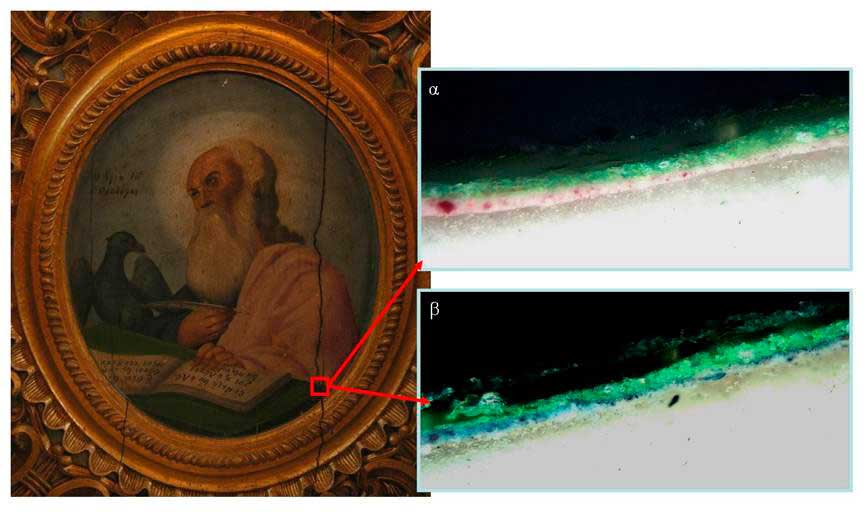 Fig. 3. The sample JT1 before (a) and after (b) colouring to trace the protein binder on the lower painted level.