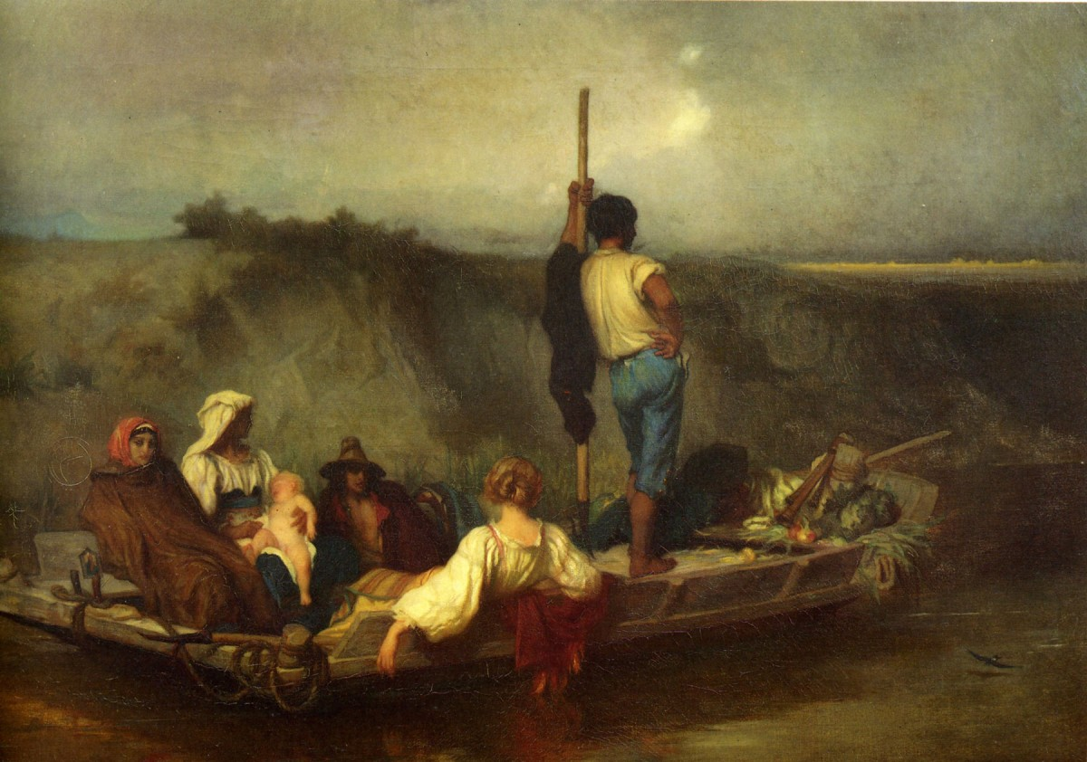 La Malaria (1850-1851), oil on canvas by Antoine Auguste Ernest Hébert (1817-1908), who spent nearly 30 years in Italy. Hébert's painting conveyed admirably the melancholy of diseased country people and the blurring pestilential environment where they lived. The mala aria (bad air) can be indeed perceived in the painting, one of the best-known works of the artist.