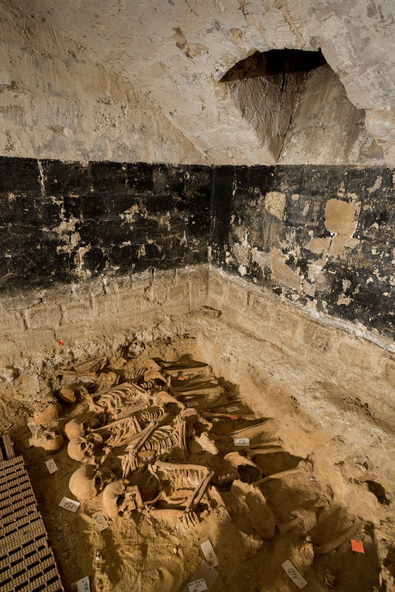 Mass grave in room 5. (Photo credit: INRAP)