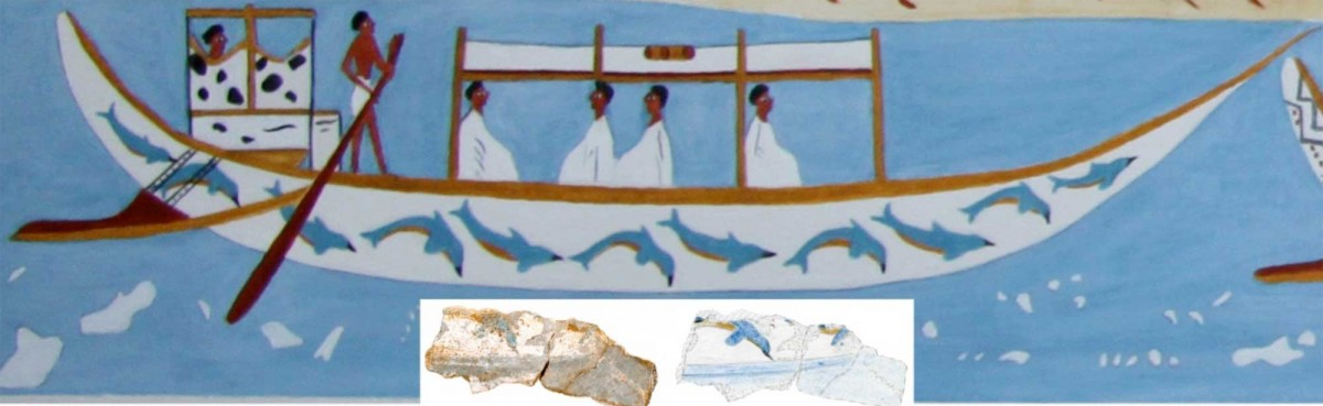 Visualization of one of the ships, plus a photograph of the fragment of hull  with dolphins.