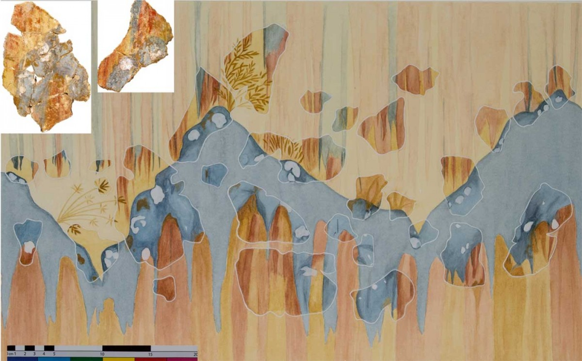 Reconstruction of the rocky landscape, plus photographs of two of the fragments.