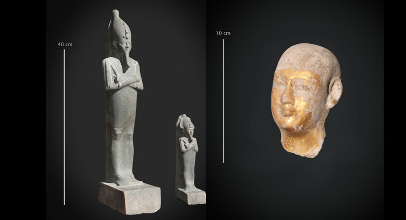 Left: Osiris statuette and figurine, Right: Small head of statue probably representing the God Imhotep. Photo Credit: © CNRS-Cfeetk / J. Maucor.