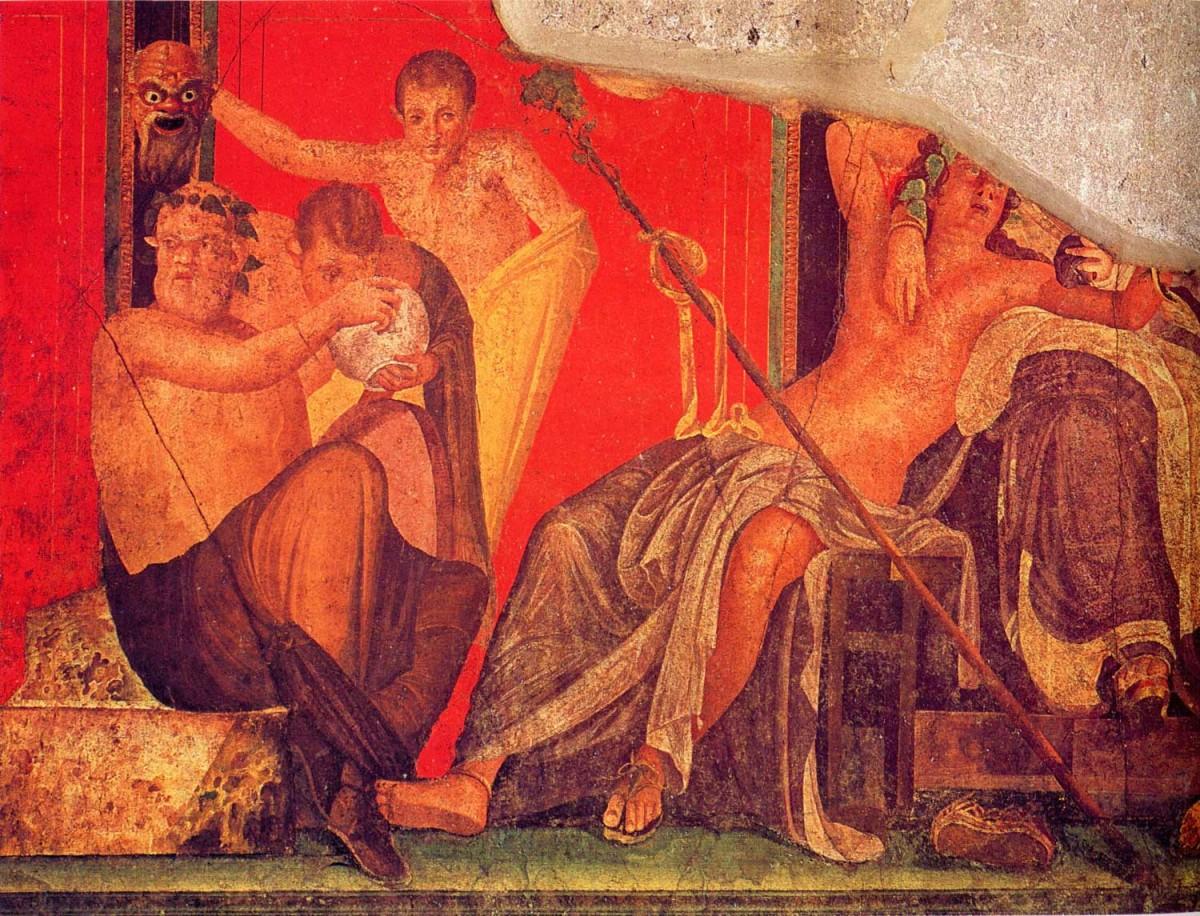 Fresco from the Sala di Grande Dipinto, Scene VI in the Villa de Misteri (Pompeii).