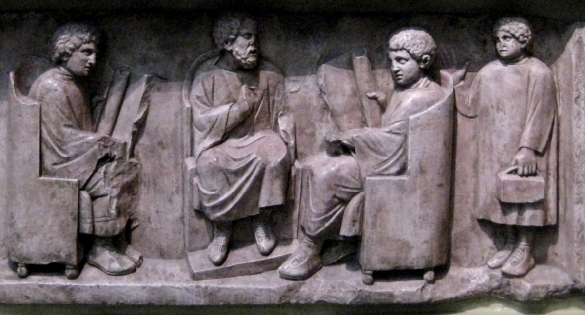 Relief found in Neumagen near Trier, a teacher with three discipuli (180-185 AD).