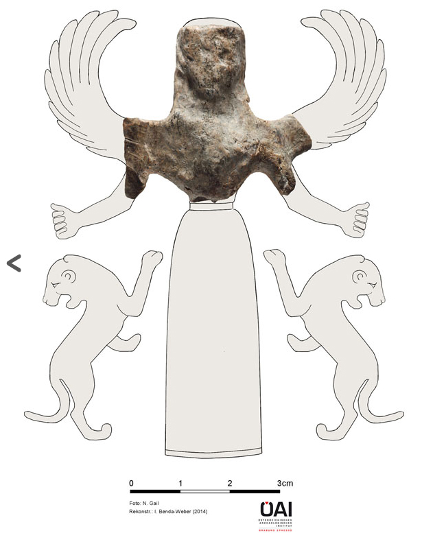 """Statuette of the """"Mistress of Animals"""" from the Artemision of Ephesos (reconstruction) (Credit: © ÖAI / Isabella Benda-Weber; Foto: Niki Gail)."""