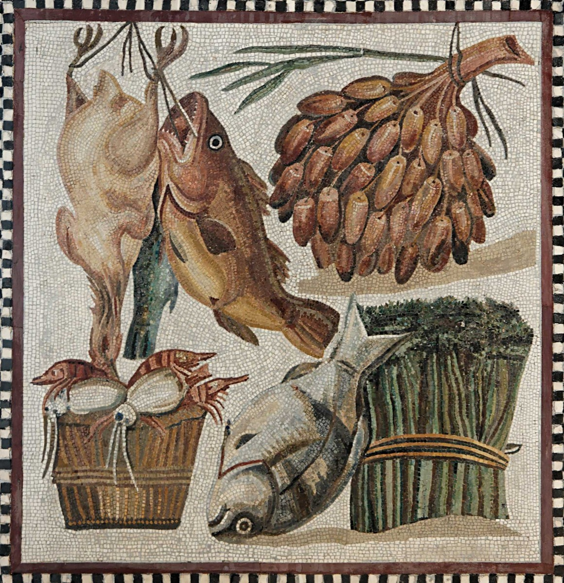 Still-life mosaic of fruit, vegetables, seafood and meat from a villa at Tor Marancia, 2nd century CE.