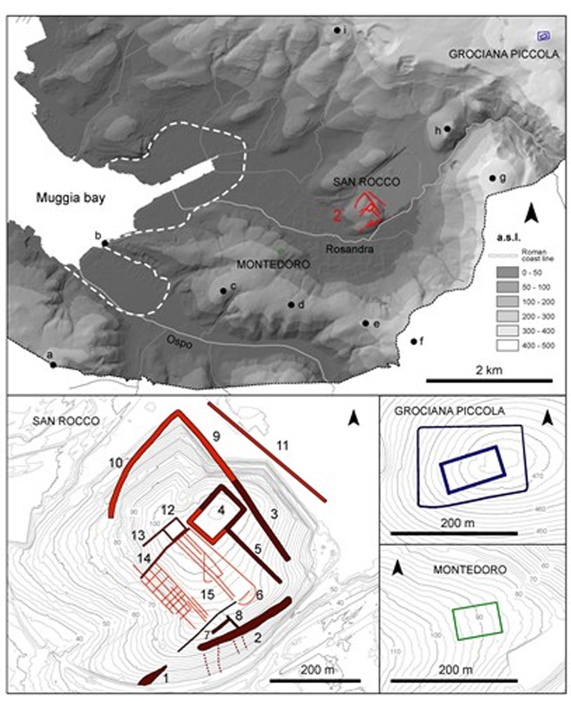LiDAR-derived digital terrain model with the location and plan of Grociana piccola, Montedoro, and San Rocco fortifications. Images: Federico Bernardini.