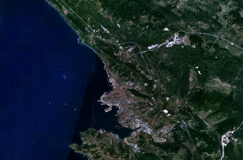 Satellite view of Trieste.