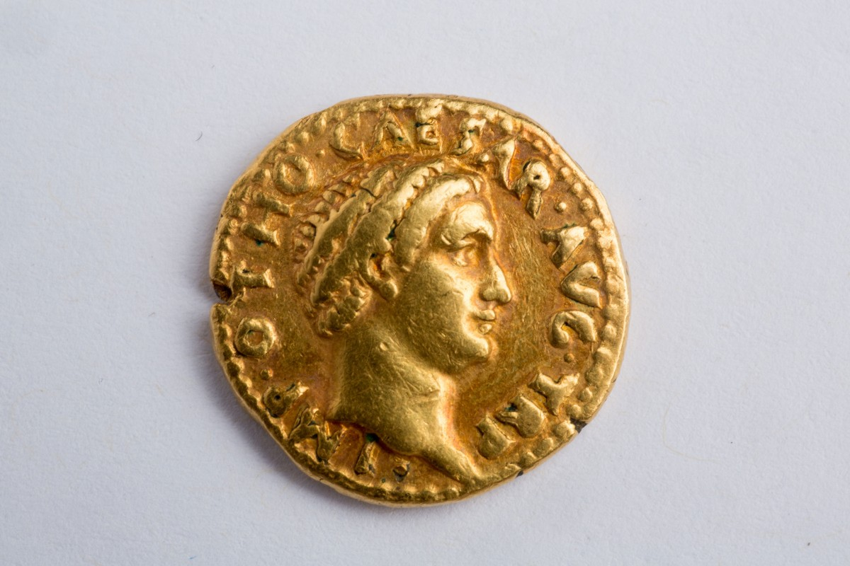 """View of a """"remarkably rare"""" coin — a gold aureus of the Roman emperor Otho, who reigned for a mere three months in A.D. 69. Photo Credit: Douglas Levere."""