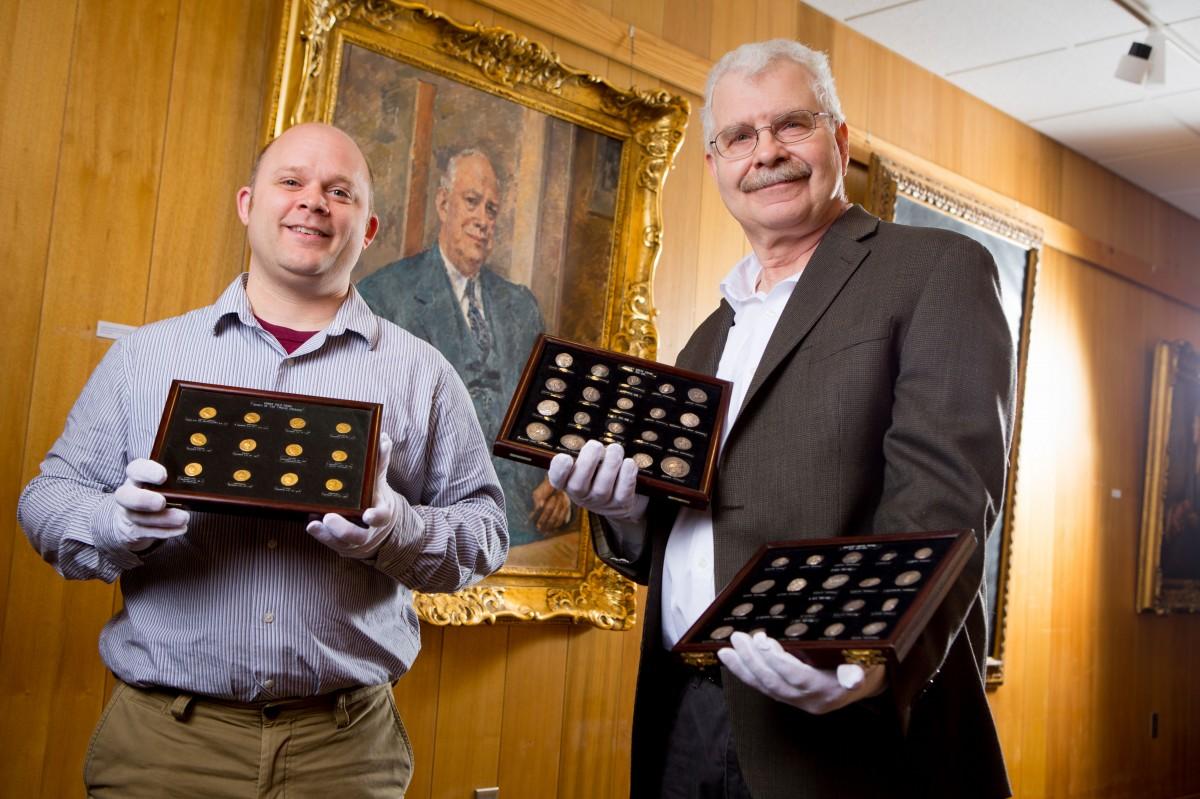 Philip Kiernan, UB assistant professor of classics, and Michael Basinski, curator of UB Libraries Special Collections. Photo Credit: Douglas Levere.