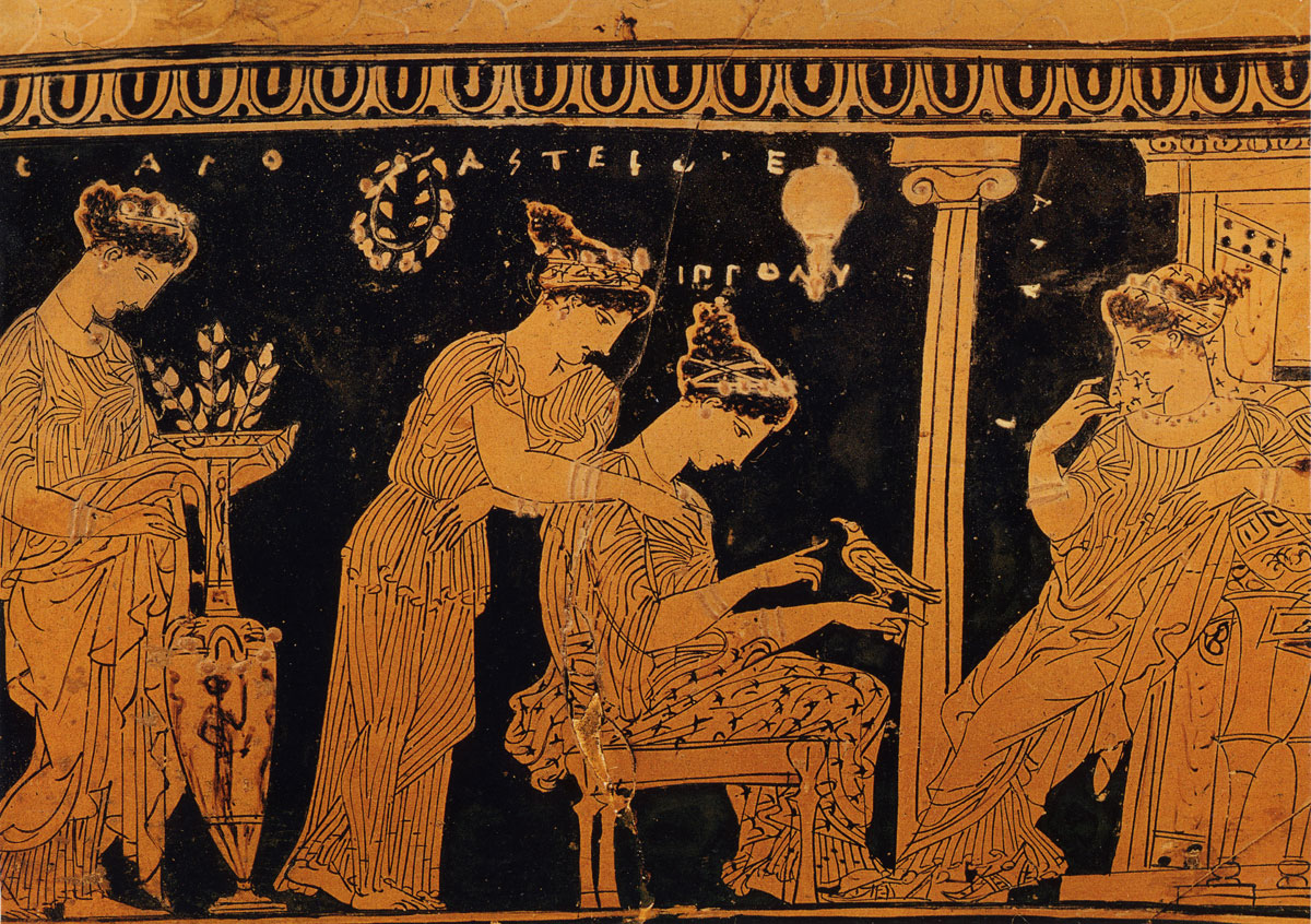 Detail from the Attic red-figure epinetron by the so-called Eretria Painter, ca. 425 BC, Athens, National Archaeological Museum. On this scene the friends of Alkestis visit her in the bridal chamber in Admetos' palace on the day after their wedding (epaulia). They bring flowers and decorate two nuptial lebetes and a loutrophoros, which were both vases for conducting bridal purification and burial markers for those who died prematurely.