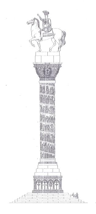 Statue of Justinian on a column in Constantinople (50m height). Drawing by C. Gurlitt.