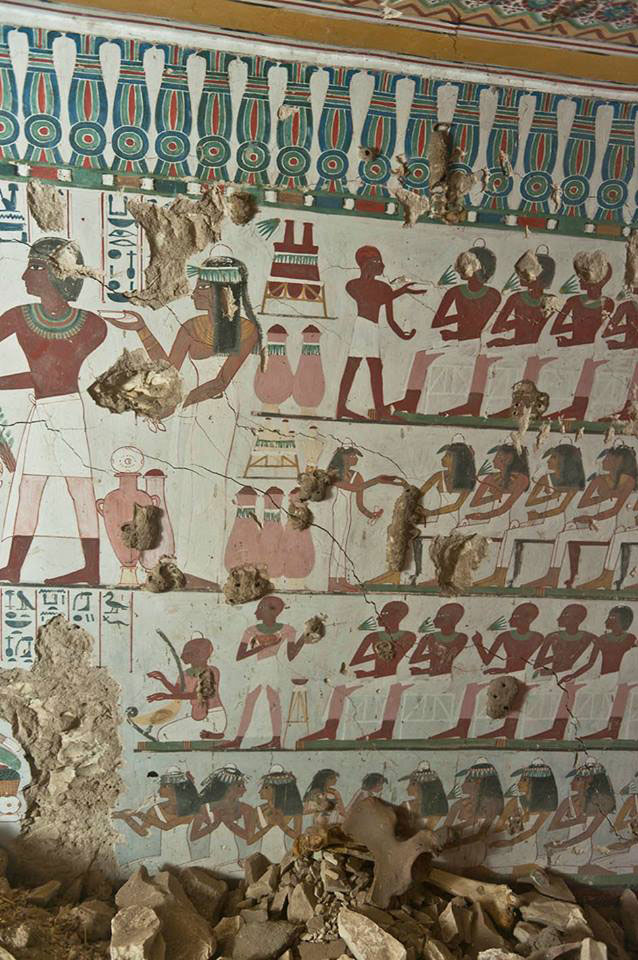 Wall painting with representations of the couples daily life and celebrations. Photo Credit: Egypt Antiquities Ministry.