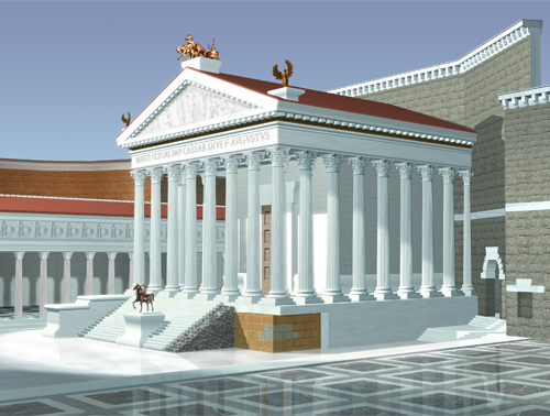 Reconstructive view of the Forum of Augustus.