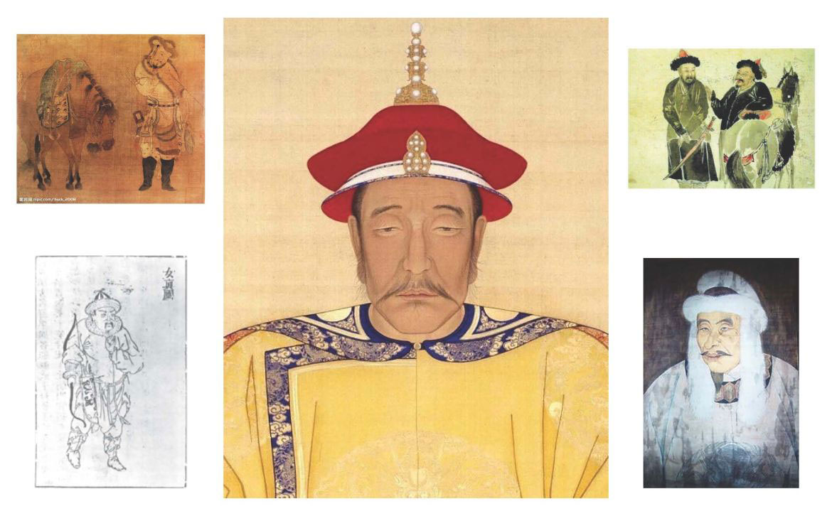 Various depictions of Jurchen males. Giocanggas grandson, Nurhaci is pictured in the center. Photo Credit: Wikipedia.