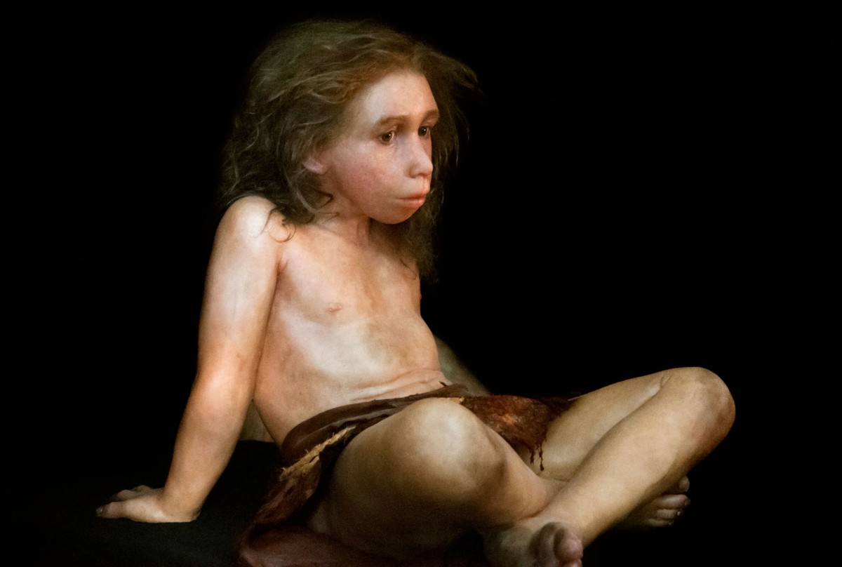 Graphic of a Neanderthal child reconstruction. © PS Plailly/E Daynes/Science Photo Library.
