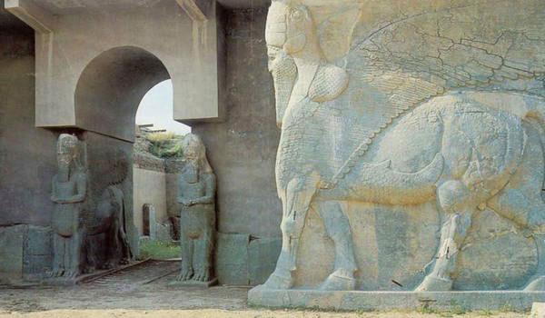 Nimrud Lamassu's at the North West Palace of Ashurnasirpal, Iraq. Photo Credit: UNESCO.
