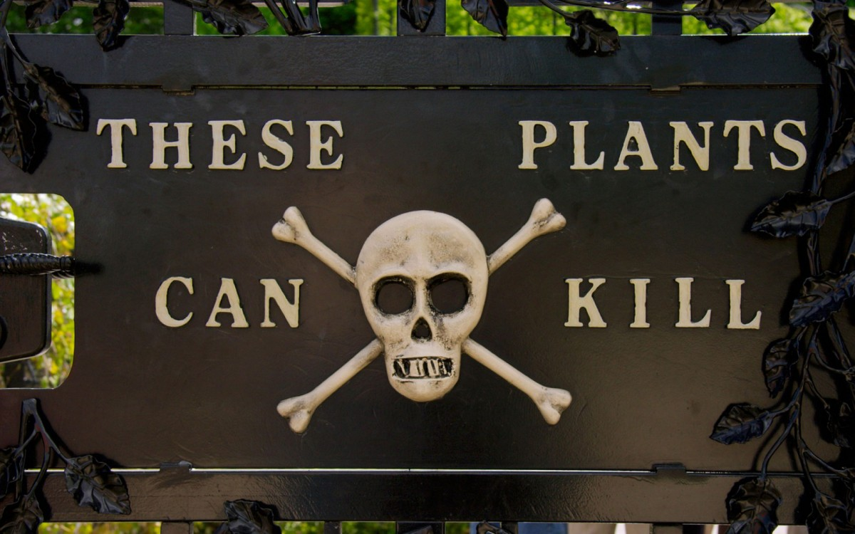 The sign on the gates to the Poison Garden at Alnwick Gardens, Northumberland, UK.