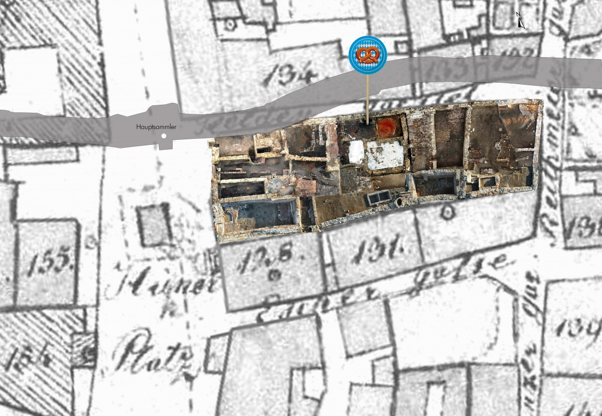 Picture of excavation site at 3 Hunnenplatz overlaid on map.