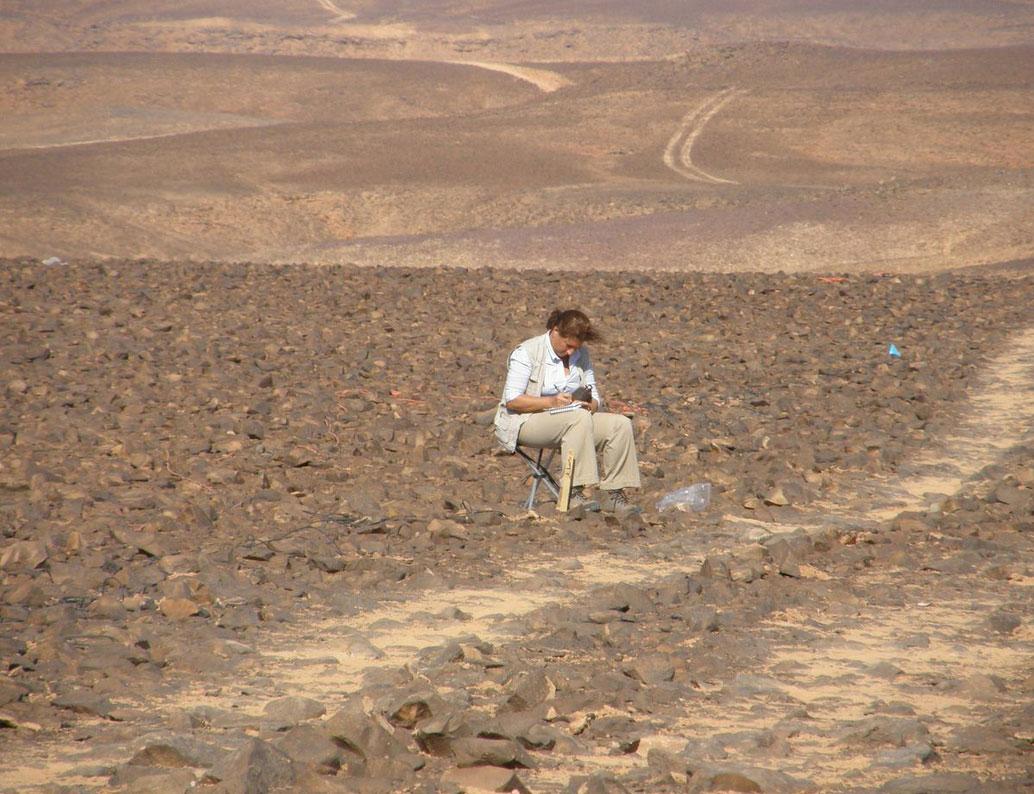 Dr Marta Mirazón Lahr carrying out a survey. Photo Credit: University of Cambridge.