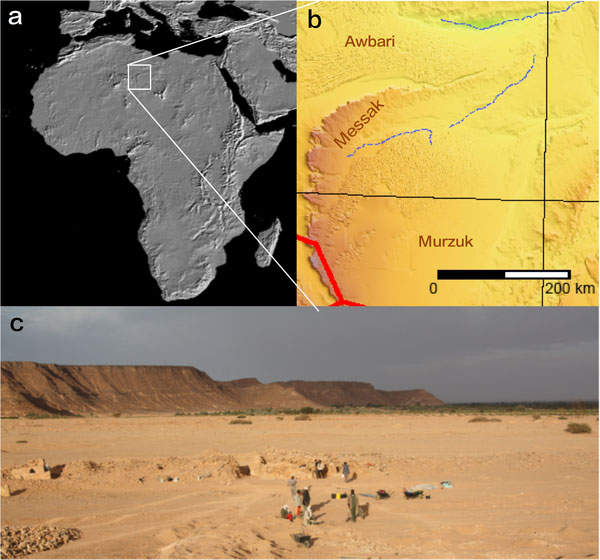 Location of the Messak Settafet escarpment at the Sahara. Photo Credit: PLOS ONE.