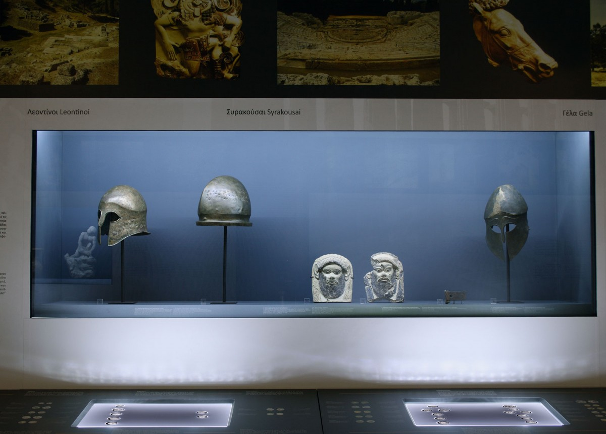"View of the exhibition ""The Europe of Greece: Colonies and coins from the Alpha Bank Collection"", at the Archaeological Museum of Thessaloniki."