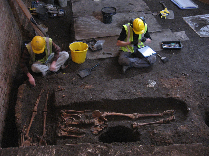 Archaeologists at work, at St John's College Cambridge.
