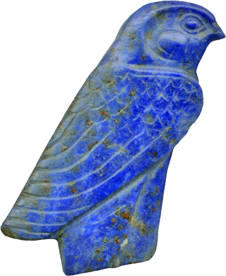 Inlay depicting a falcon with an elaborate feather decor. The legs are missing and the original crown was probably made as an independent inlay. Ca. 1450-1185 BC (New Kingdom). © The Walters Art Museum, Baltimore
