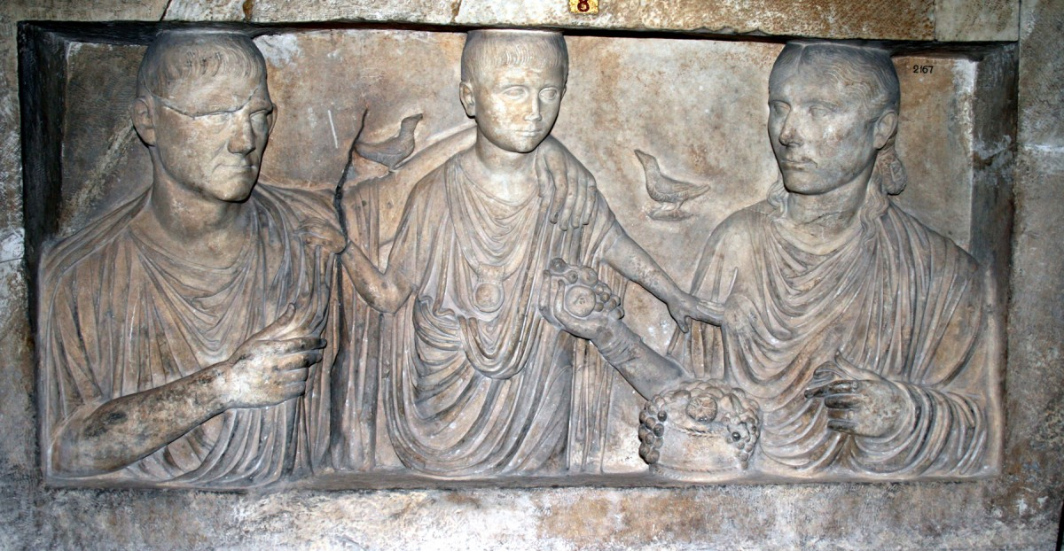 A funerary stele depicting an ancient Roman family.