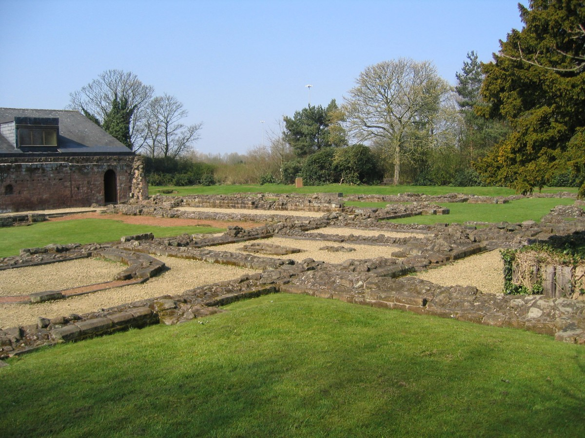 Norton Priory Museum and Gardens: Foundations of the monastic buildings and the back of the museum.